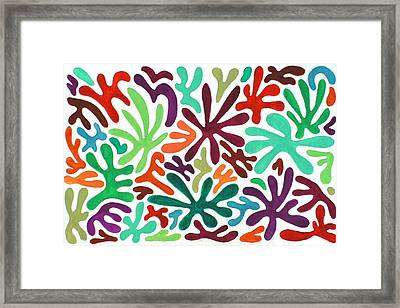 Seaweed Splash Colorful Abstract Gouache Painting Green Red Orange Brown Blue Framed Print by Wendy Middlemass