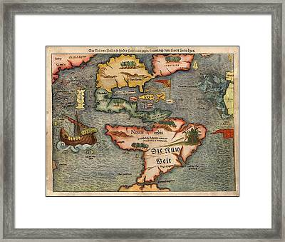 Sebastian Munster's Map Of The New World First Published In 1540 A.d. Framed Print by L Brown