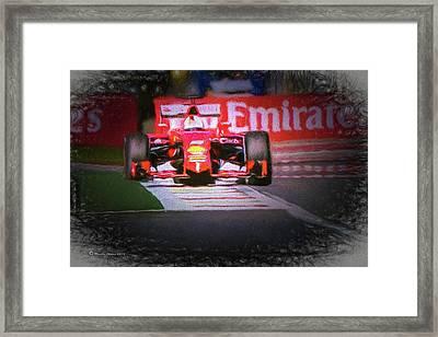Sebastian Vettel's Ferrari Framed Print by Marvin Spates