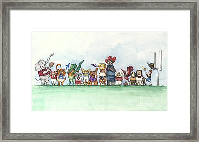 Sec Football Mascots - Sports Watercolor Print Framed Print by Annie Laurie