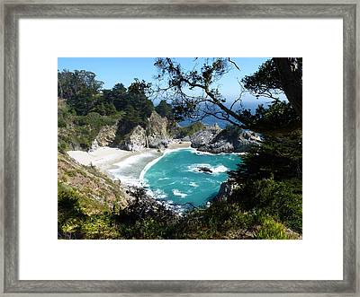 Secluded Mcway Cove In California's Julia Pfeiffer Burns State Park Framed Print by Carla Parris