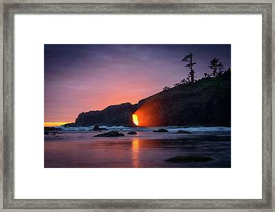 Framed Print featuring the photograph Second Beach Light Shaft by Dan Mihai