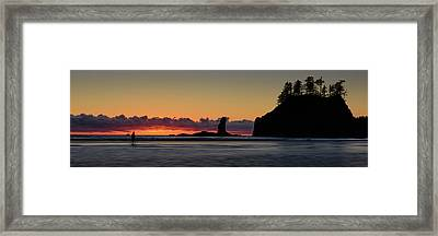 Framed Print featuring the photograph Second Beach Silhouettes by Dan Mihai