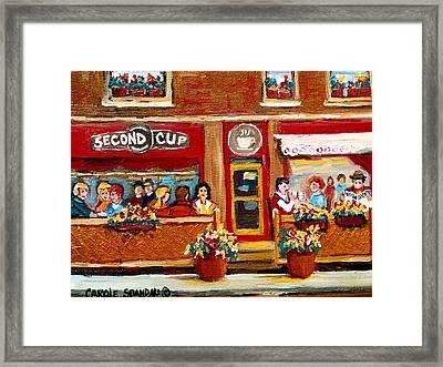 Second Cup Coffee Shop Framed Print by Carole Spandau