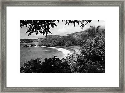 Secret Beach Black And White Framed Print