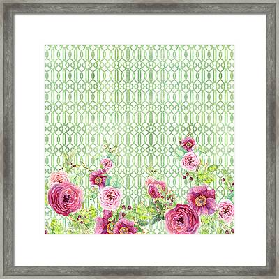 Secret Garden 2 - Peony N Rose Fern Hops, Berries And Trellis Framed Print by Audrey Jeanne Roberts
