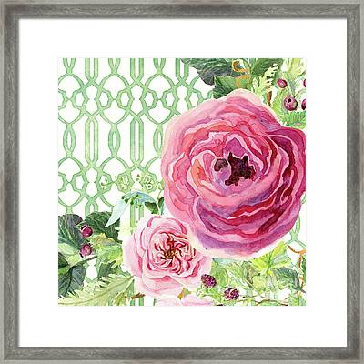 Framed Print featuring the painting Secret Garden 3 - Pink English Roses With Woodsy Fern, Wild Berries, Hops And Trellis by Audrey Jeanne Roberts