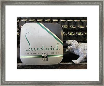 Secretarial Typewriter Ribbon And Weasel Framed Print by David Lovins
