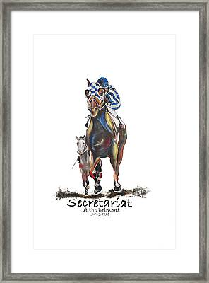 Secretariat At The Belmont Mural Framed Print by Amanda  Sanford