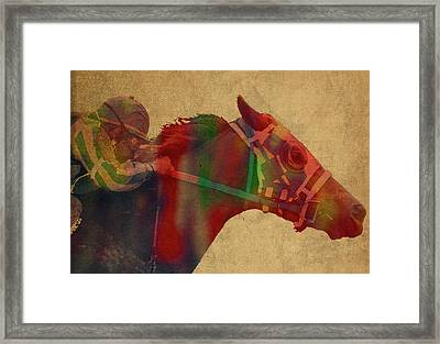 Secretariat Horse Race Watercolor Portrait Framed Print