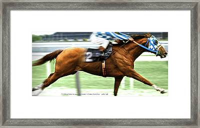 Secretariat Is Widening The Lead Now,  Painting Belmont Stakes  Framed Print by Thomas Pollart