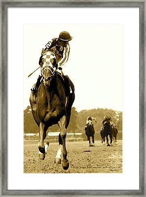 Secretariat Looking Back Belmont Stakes 1973 Framed Print