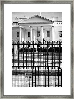 Security Fence And Restricted Area Signs Outside The North Facade From Pennsylvania Avenue The White Framed Print