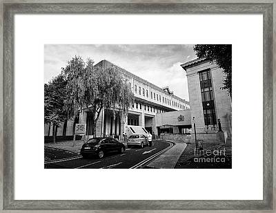 security outside Cathays park 2 cp2 crown buildings welsh goverment office Cardiff Wales United King Framed Print