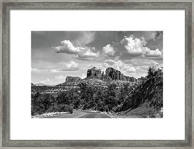 Sedona Arizona Black And White Landscape - Cathedral Rock  Framed Print by Gregory Ballos