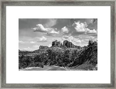 Sedona Arizona Black And White Landscape - Cathedral Rock  Framed Print