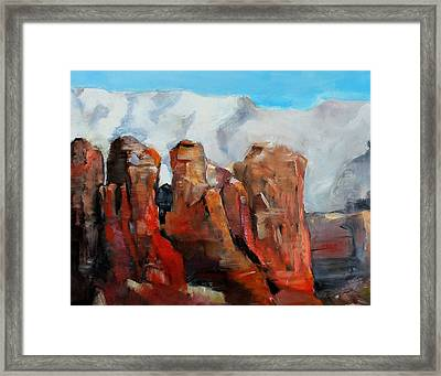 Sedona Coffee Pot Rock Painting Framed Print