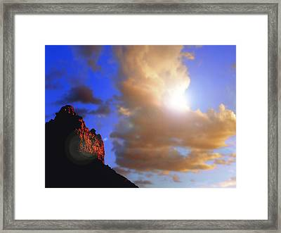 Sedona Mountain Cloud Sun Framed Print