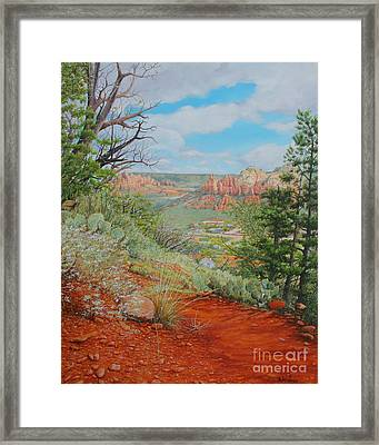 Framed Print featuring the painting Sedona Trail by Mike Ivey