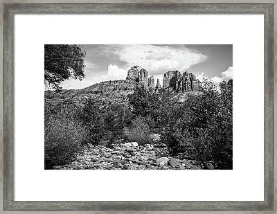 Sedona's Red Rock Crossing In Black And White Framed Print by Gregory Ballos
