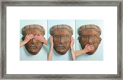 See Hear And Speak No Evil Triptich Framed Print by Reimar Gaertner