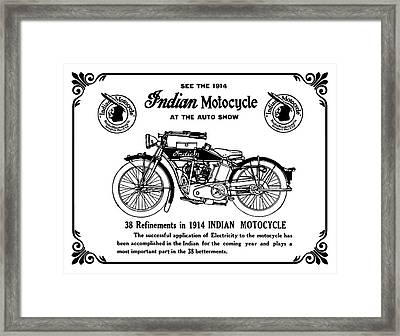 Framed Print featuring the mixed media See New 1914 Indian Motocycle At The Auto Show by Daniel Hagerman