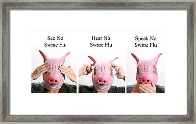 See No Swine Flu  Hear No Swine Flu   Speak No Swine Flu Framed Print by Michael Ledray