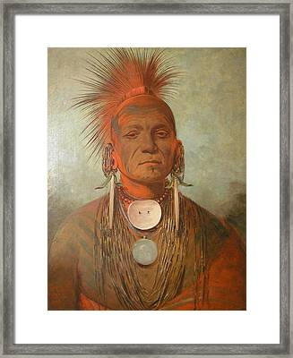 See No Ty A An Iowa Medicine Man Framed Print by George Catlin