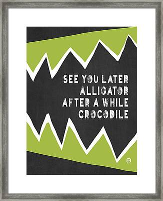Framed Print featuring the painting See You Later Alligator by Lisa Weedn