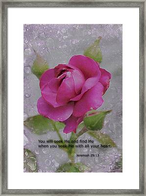 Framed Print featuring the photograph Seek Me With All Your Heart by Kate Word