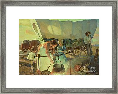 Seeking The New Home Framed Print by Newell Convers Wyeth