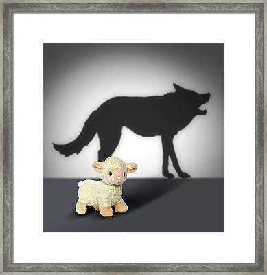 Seep And Wolf Shadow. Contept Graphic.  Framed Print by Cranach Studio