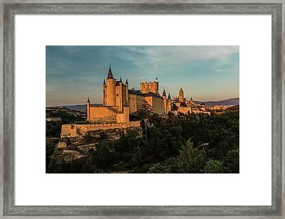 Segovia Alcazar And Cathedral Golden Hour Framed Print