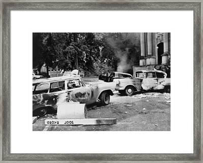 Segregationist Riot At Old Miss. Burned Framed Print by Everett