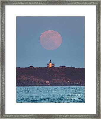 Seguin Island Lighthouse Ghost Moon Framed Print by Benjamin Williamson