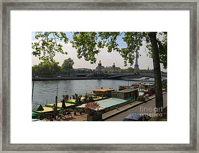 Seine Barges In Paris In Spring Framed Print by Louise Heusinkveld