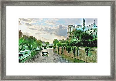 Seine River Cruise, Notre-dame Framed Print by Joan Minchak