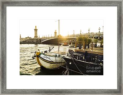 Seine River With Barges And Boats, Pont De Alexandre Bridge Behind, Paris France. Framed Print by Perry Van Munster