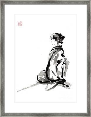 Seiza - Zen Painting. Framed Print by Mariusz Szmerdt