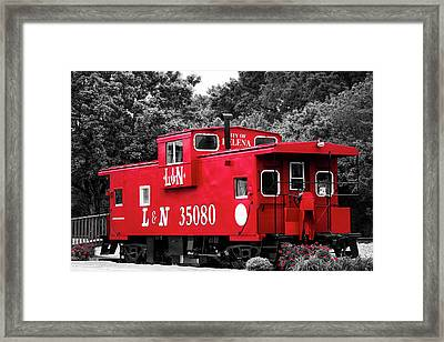 Selective Color Red Caboose Framed Print