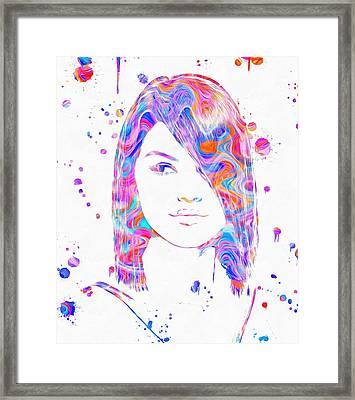Selena Gomez Paint Splatter Framed Print by Dan Sproul