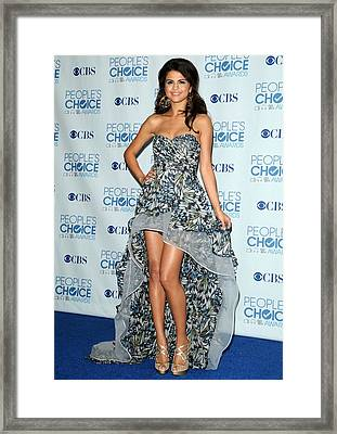 Selena Gomez Wearing An Irina Shabayeva Framed Print by Everett