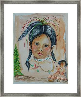 Selena With Her Doll Framed Print by Janna Columbus