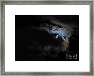 Selene Peaking From The Clouds Framed Print by As the Dinosaur Flies Photography