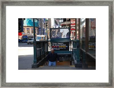 Self At Subway Stairs Framed Print