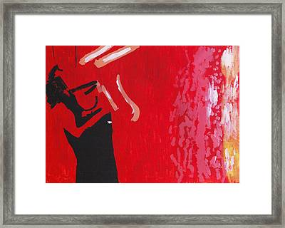 Self In Santorini Framed Print by Contemporary Michael Angelo
