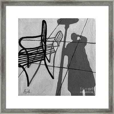 Self Portrait - Cafe Shadows Painting Framed Print by Linda Apple
