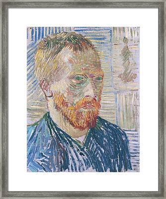 Self Portrait 1887 With Japanese Print Framed Print by Vincent Van Gogh