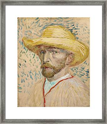 Self Portrait 1887 With Straw Hat 01 Framed Print by Vincent Van Gogh