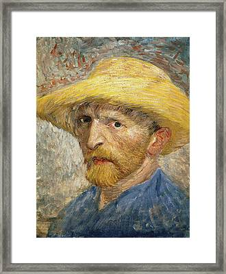 Self Portrait 1887 With Straw Hat 02 Framed Print by Vincent Van Gogh